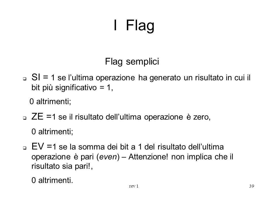 rev 139 I Flag Flag semplici SI = 1 se lultima operazione ha generato un risultato in cui il bit più significativo = 1, 0 altrimenti; ZE = 1 se il ris