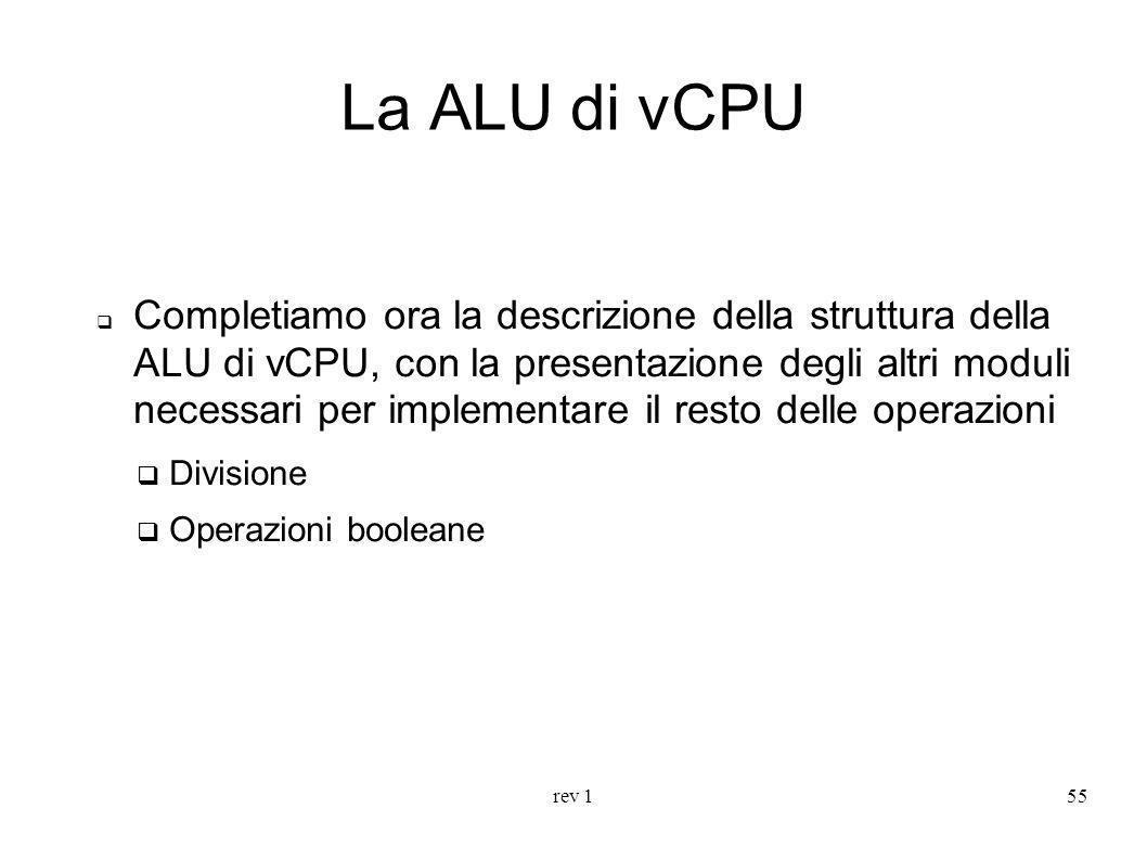 rev 155 La ALU di vCPU Completiamo ora la descrizione della struttura della ALU di vCPU, con la presentazione degli altri moduli necessari per impleme