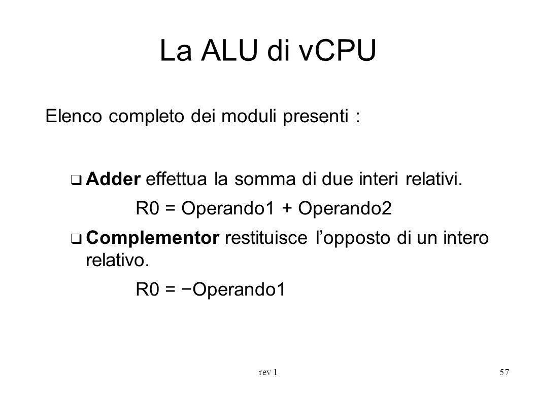 rev 157 La ALU di vCPU Elenco completo dei moduli presenti : Adder effettua la somma di due interi relativi. R0 = Operando1 + Operando2 Complementor r