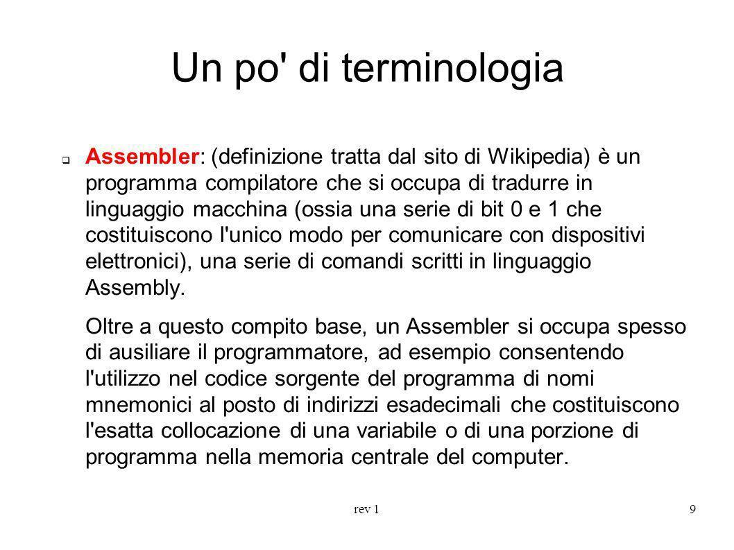 rev 19 Un po' di terminologia Assembler: (definizione tratta dal sito di Wikipedia) è un programma compilatore che si occupa di tradurre in linguaggio