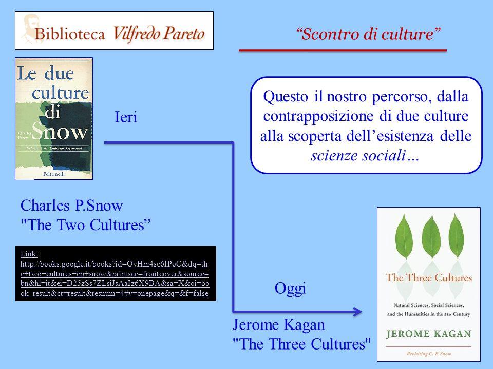 Link: http://books.google.it/books id=OyHm4sc6IPoC&dq=th e+two+cultures+cp+snow&printsec=frontcover&source= bn&hl=it&ei=D25zSs7ZLsiJsAaIz6X9BA&sa=X&oi=bo ok_result&ct=result&resnum=4#v=onepage&q=&f=false Charles P.Snow The Two Cultures Scontro di culture Ieri Jerome Kagan The Three Cultures Oggi Questo il nostro percorso, dalla contrapposizione di due culture alla scoperta dellesistenza delle scienze sociali…
