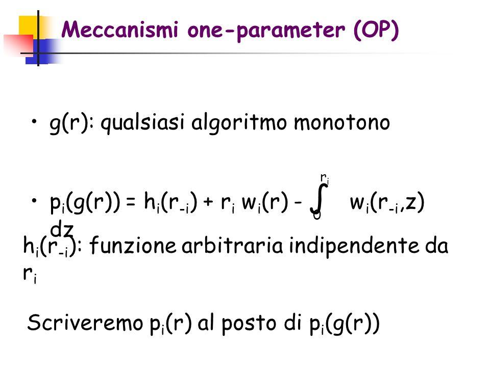 Meccanismi one-parameter (OP) g(r): qualsiasi algoritmo monotono p i (g(r)) = h i (r -i ) + r i w i (r) - w i (r -i,z) dz 0 riri h i (r -i ): funzione arbitraria indipendente da r i Scriveremo p i (r) al posto di p i (g(r))