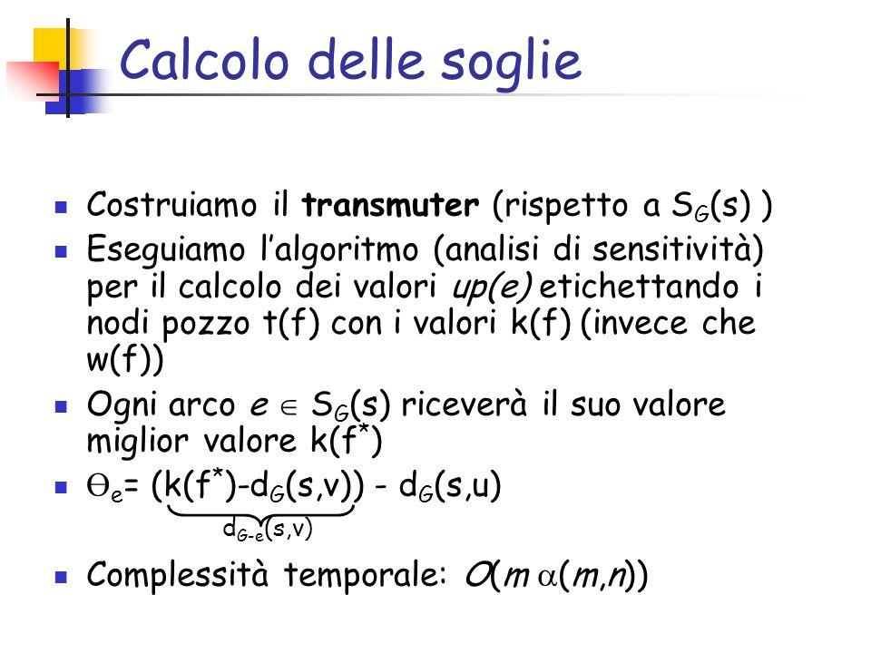Calcolo delle soglie Costruiamo il transmuter (rispetto a S G (s) ) Eseguiamo lalgoritmo (analisi di sensitività) per il calcolo dei valori up(e) etic