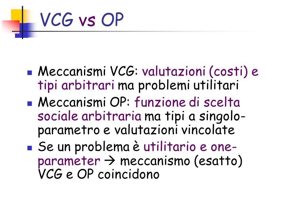 VCG vs OP Meccanismi VCG: valutazioni (costi) e tipi arbitrari ma problemi utilitari Meccanismi OP: funzione di scelta sociale arbitraria ma tipi a singolo- parametro e valutazioni vincolate Se un problema è utilitario e one- parameter meccanismo (esatto) VCG e OP coincidono