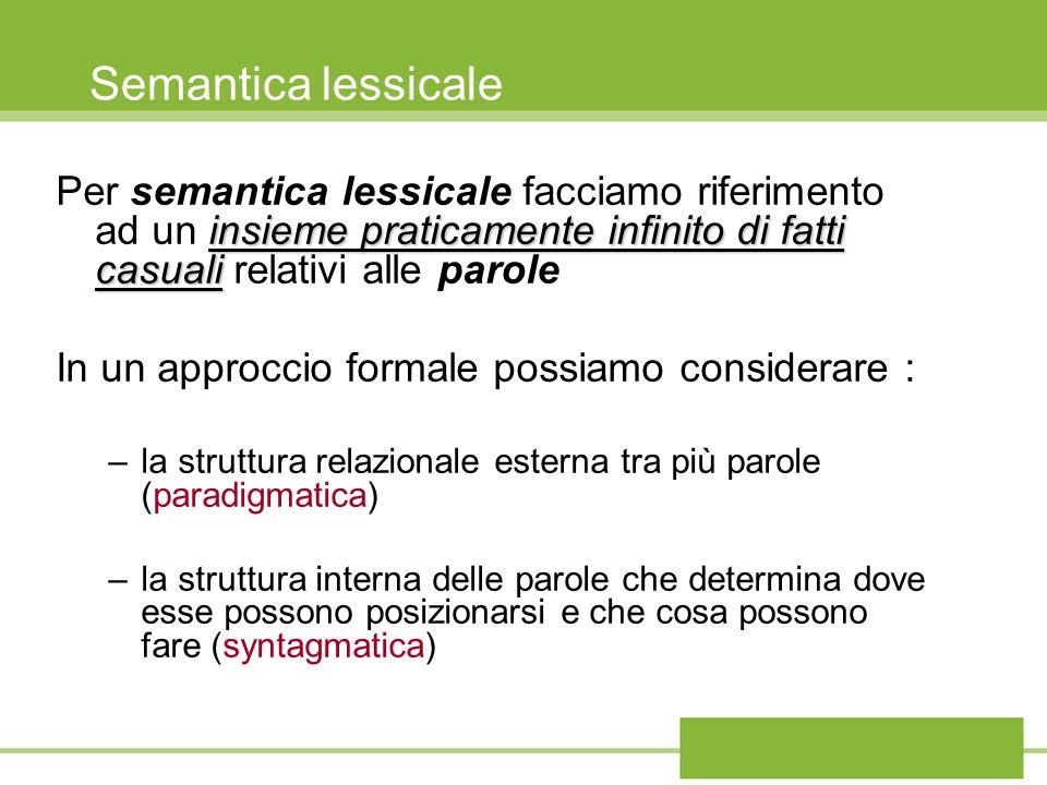 Semantica lessicale insieme praticamente infinito di fatti casuali Per semantica lessicale facciamo riferimento ad un insieme praticamente infinito di