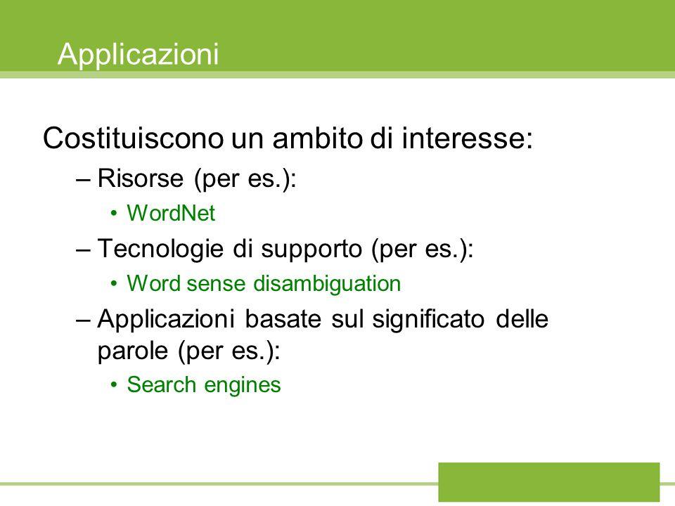 Applicazioni Costituiscono un ambito di interesse: –Risorse (per es.): WordNet –Tecnologie di supporto (per es.): Word sense disambiguation –Applicazi