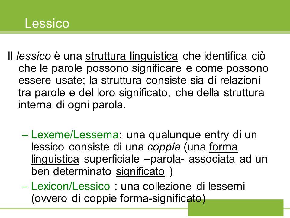 Lessico Il lessico è una struttura linguistica che identifica ciò che le parole possono significare e come possono essere usate; la struttura consiste