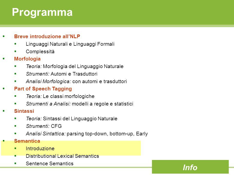 Programma Breve introduzione allNLP Linguaggi Naturali e Linguaggi Formali Complessità Morfologia Teoria: Morfologia del Linguaggio Naturale Strumenti