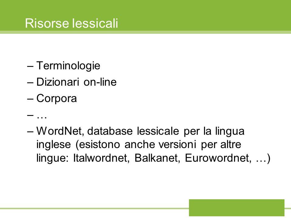 Risorse lessicali –Terminologie –Dizionari on-line –Corpora –… –WordNet, database lessicale per la lingua inglese (esistono anche versioni per altre l