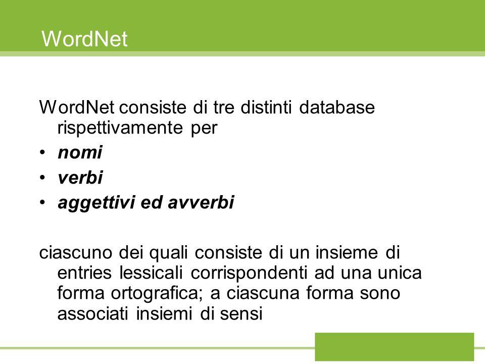 WordNet WordNet consiste di tre distinti database rispettivamente per nomi verbi aggettivi ed avverbi ciascuno dei quali consiste di un insieme di ent