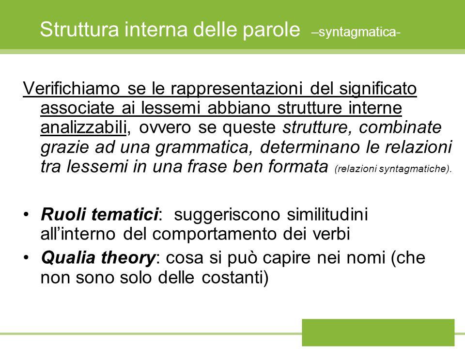 Struttura interna delle parole –syntagmatica- Verifichiamo se le rappresentazioni del significato associate ai lessemi abbiano strutture interne anali