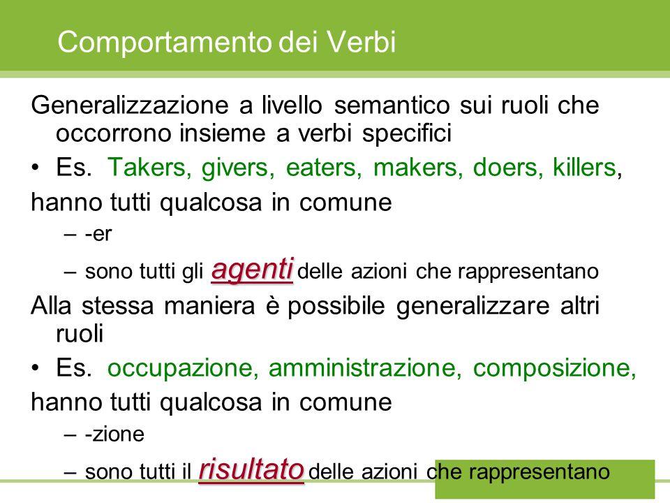 Comportamento dei Verbi Generalizzazione a livello semantico sui ruoli che occorrono insieme a verbi specifici Es. Takers, givers, eaters, makers, doe