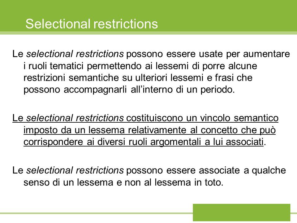 Selectional restrictions Le selectional restrictions possono essere usate per aumentare i ruoli tematici permettendo ai lessemi di porre alcune restri