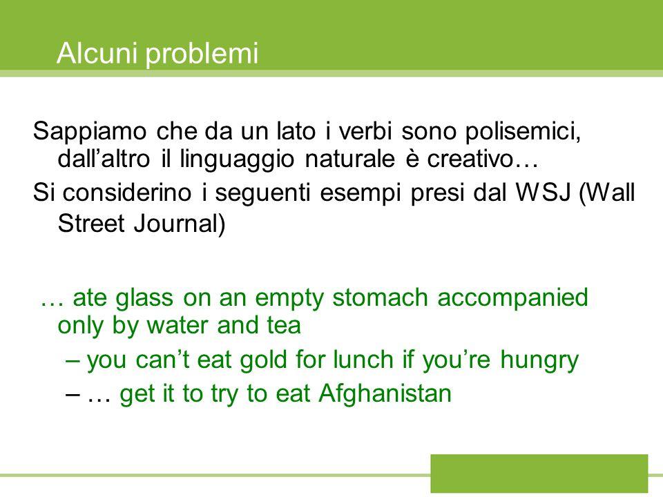 Alcuni problemi Sappiamo che da un lato i verbi sono polisemici, dallaltro il linguaggio naturale è creativo… Si considerino i seguenti esempi presi d