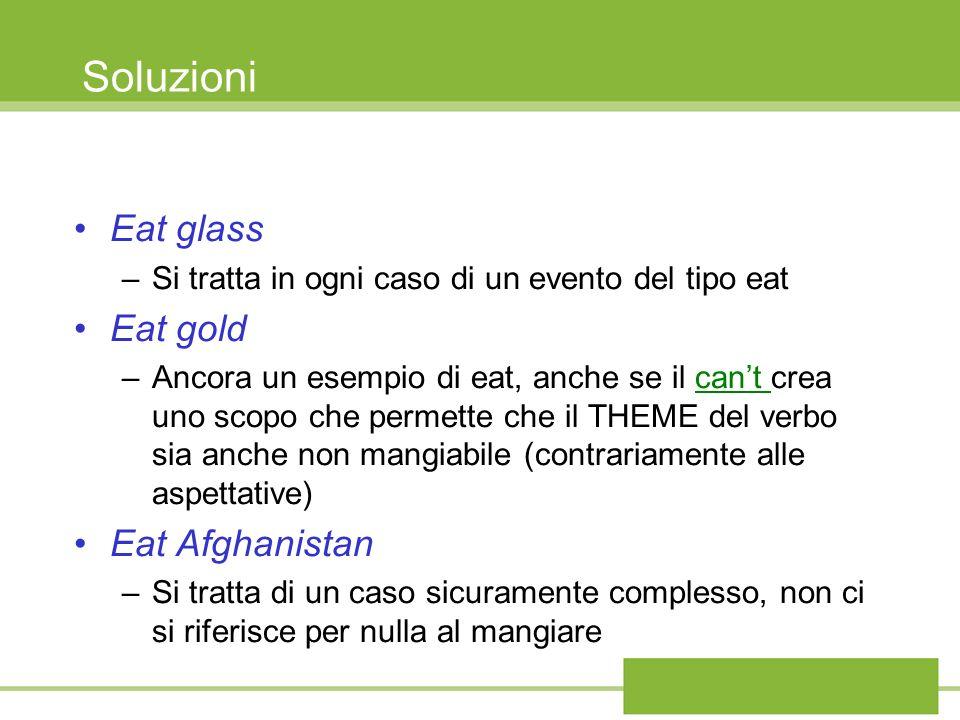 Soluzioni Eat glass –Si tratta in ogni caso di un evento del tipo eat Eat gold –Ancora un esempio di eat, anche se il cant crea uno scopo che permette