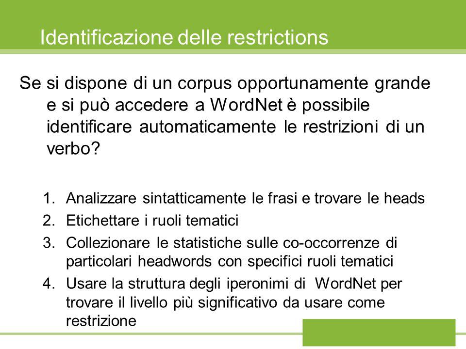 Identificazione delle restrictions Se si dispone di un corpus opportunamente grande e si può accedere a WordNet è possibile identificare automaticamen