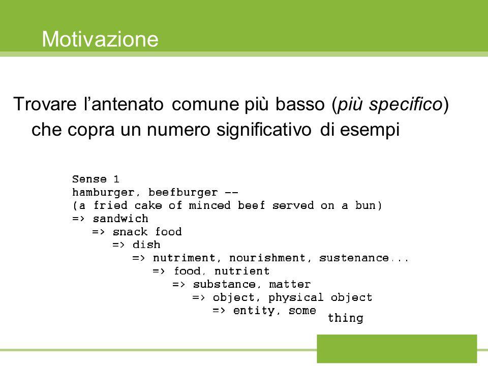Motivazione Trovare lantenato comune più basso (più specifico) che copra un numero significativo di esempi