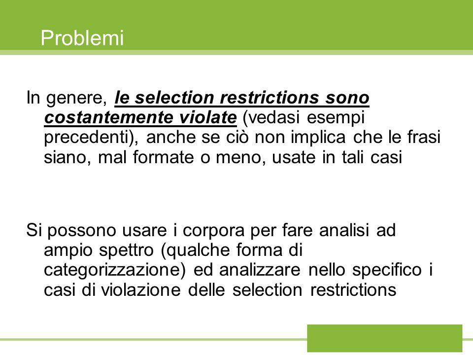 Problemi In genere, le selection restrictions sono costantemente violate (vedasi esempi precedenti), anche se ciò non implica che le frasi siano, mal