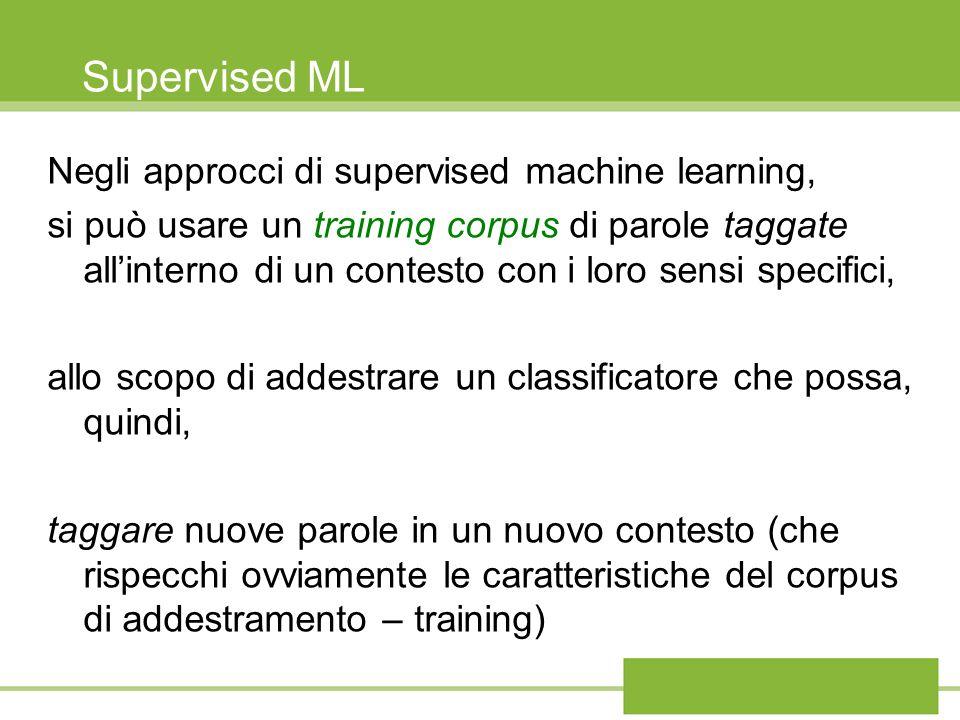 Supervised ML Negli approcci di supervised machine learning, si può usare un training corpus di parole taggate allinterno di un contesto con i loro se