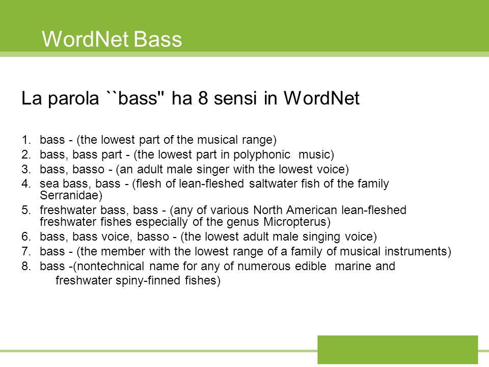 WordNet Bass La parola ``bass'' ha 8 sensi in WordNet 1.bass - (the lowest part of the musical range) 2.bass, bass part - (the lowest part in polyphon