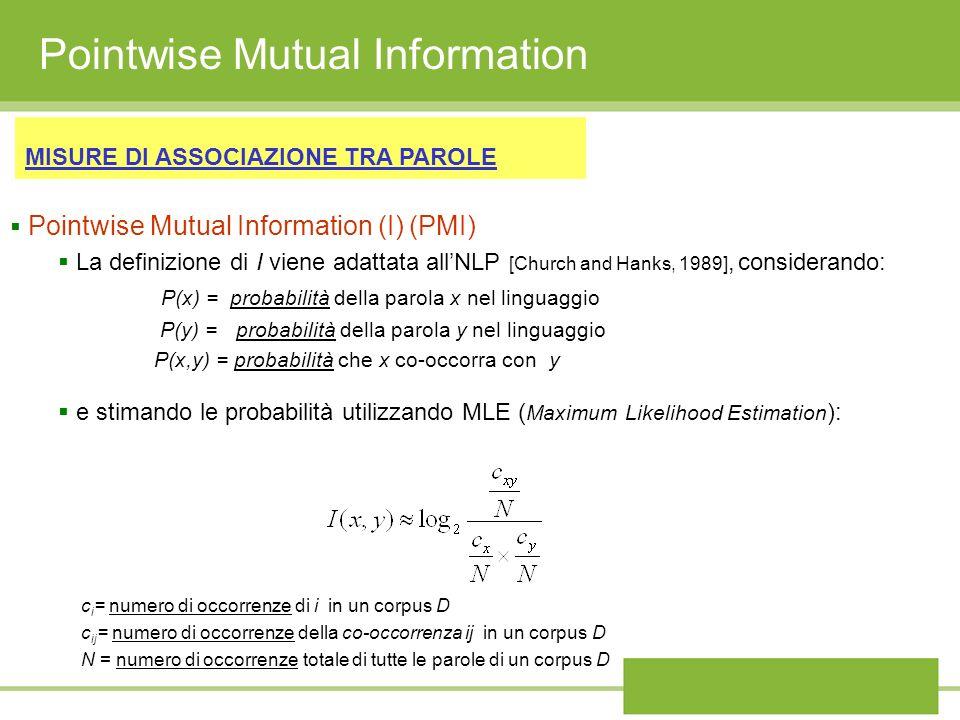 Pointwise Mutual Information MISURE DI ASSOCIAZIONE TRA PAROLE Pointwise Mutual Information (I) (PMI) La definizione di I viene adattata allNLP [Churc
