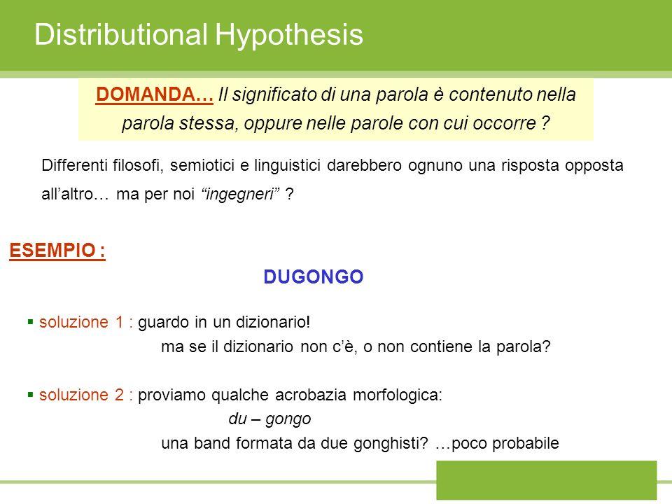 Distributional Hypothesis DOMANDA… Il significato di una parola è contenuto nella parola stessa, oppure nelle parole con cui occorre ? Differenti filo