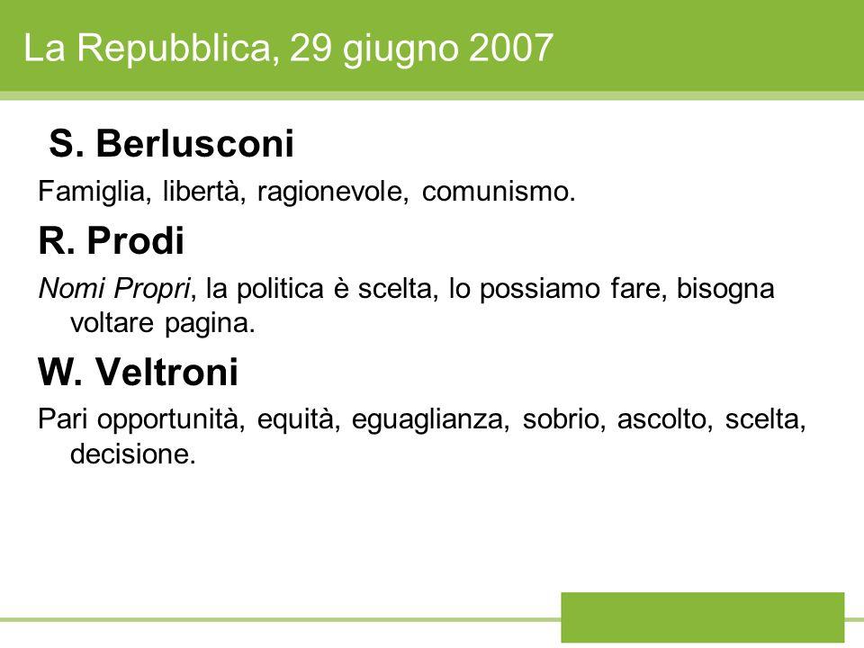 La Repubblica, 29 giugno 2007 S. Berlusconi Famiglia, libertà, ragionevole, comunismo. R. Prodi Nomi Propri, la politica è scelta, lo possiamo fare, b