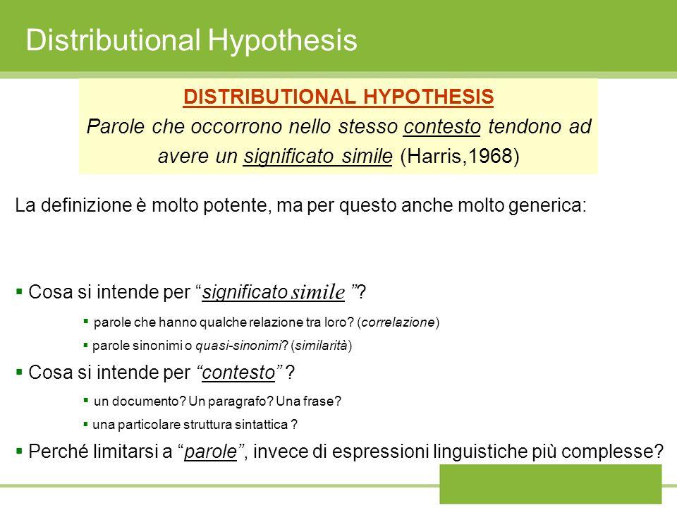 Distributional Hypothesis DISTRIBUTIONAL HYPOTHESIS Parole che occorrono nello stesso contesto tendono ad avere un significato simile (Harris,1968) La