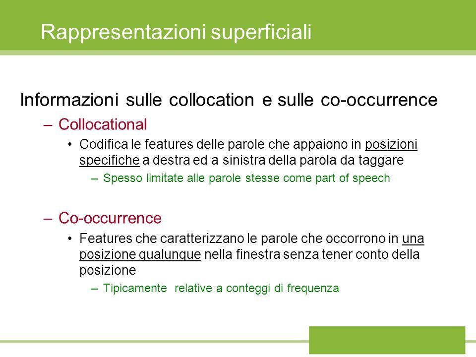 Rappresentazioni superficiali Informazioni sulle collocation e sulle co-occurrence –Collocational Codifica le features delle parole che appaiono in po
