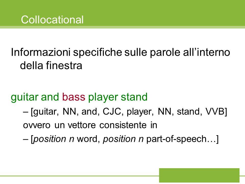 Collocational Informazioni specifiche sulle parole allinterno della finestra guitar and bass player stand –[guitar, NN, and, CJC, player, NN, stand, V