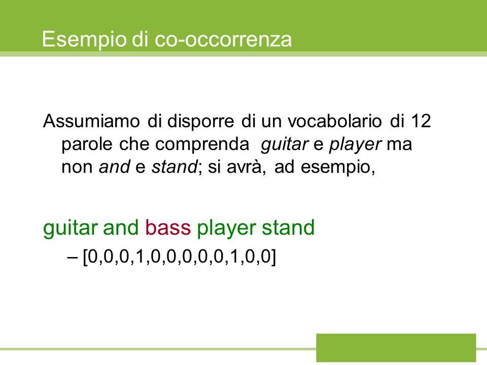 Esempio di co-occorrenza Assumiamo di disporre di un vocabolario di 12 parole che comprenda guitar e player ma non and e stand; si avrà, ad esempio, g