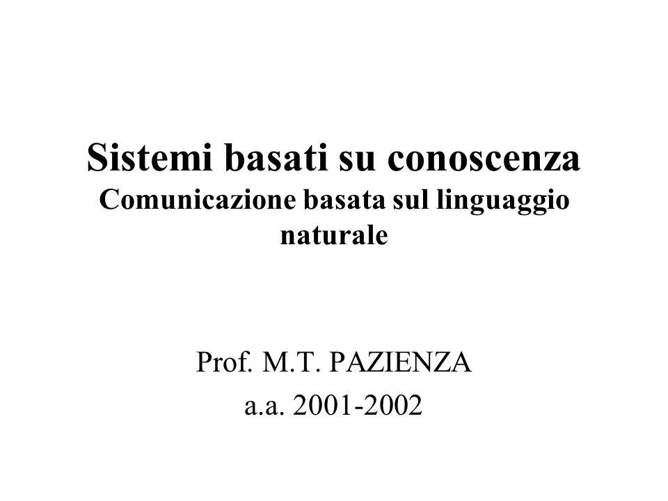 Sistemi basati su conoscenza Comunicazione basata sul linguaggio naturale Prof. M.T. PAZIENZA a.a. 2001-2002