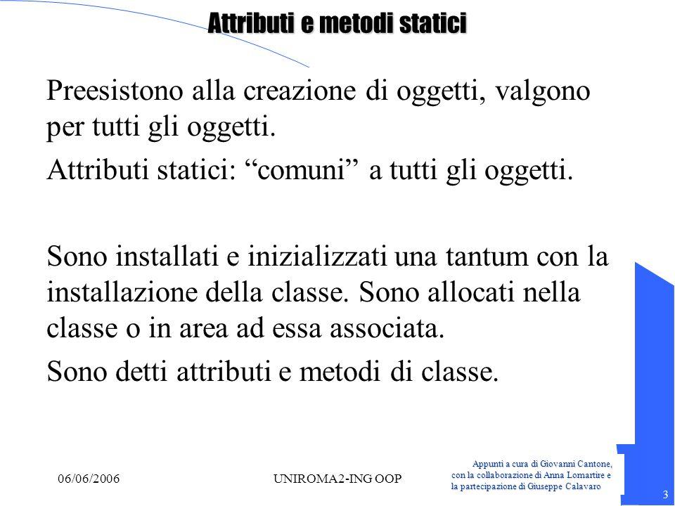 Appunti a cura di Giovanni Cantone, con la collaborazione di Anna Lomartire e la partecipazione di Giuseppe Calavaro 3 06/06/2006UNIROMA2-ING OOP Attr