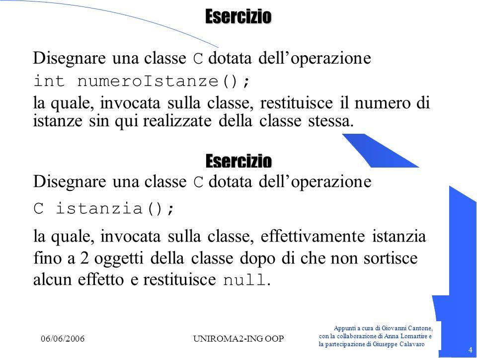 Appunti a cura di Giovanni Cantone, con la collaborazione di Anna Lomartire e la partecipazione di Giuseppe Calavaro 4 06/06/2006UNIROMA2-ING OOPEserc