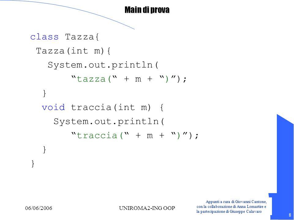 Appunti a cura di Giovanni Cantone, con la collaborazione di Anna Lomartire e la partecipazione di Giuseppe Calavaro 9 06/06/2006UNIROMA2-ING OOP Main di prova class Vassoio{ Tazza t3 = new Tazza(3); static Tazza tf4 = new Tazza(4); Vassoio() { System.out.println( Vassoio()); tf4.f(2); } void traccia3(int m) { System.out.println( traccia3( + m +) ); } static Tazza tf5= new Tazza(5); }