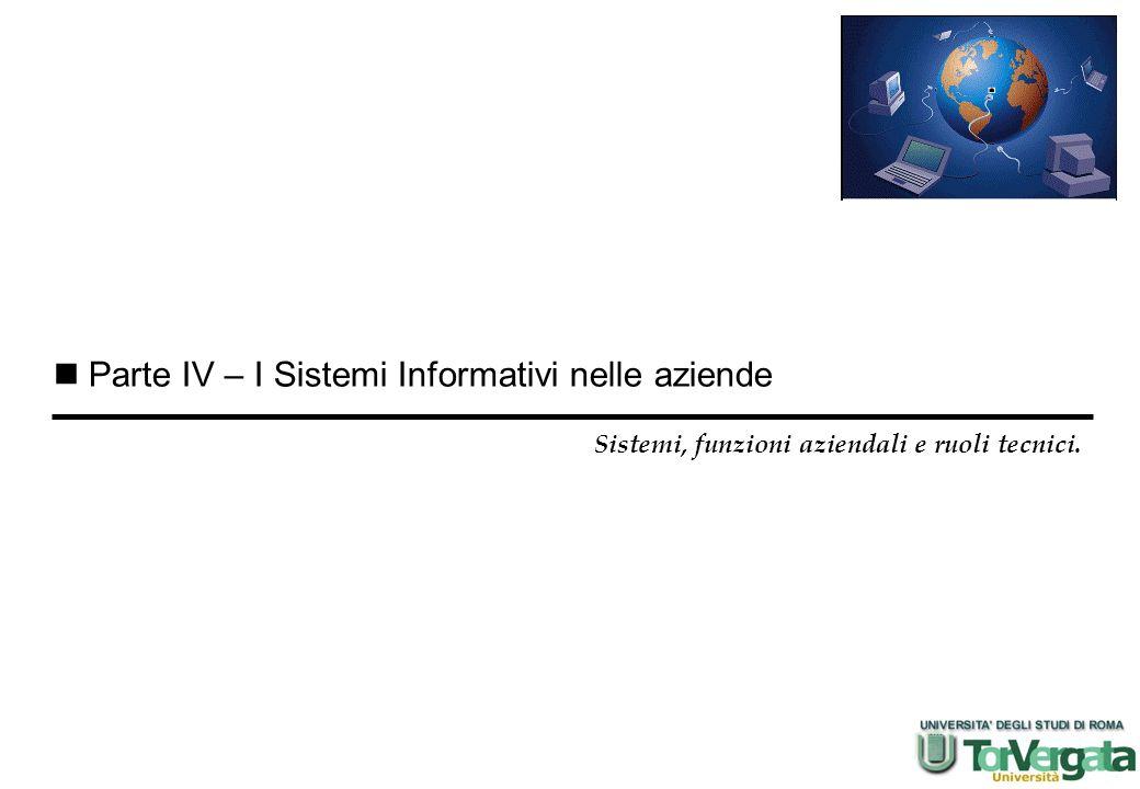 Parte IV – I Sistemi Informativi nelle aziende Sistemi, funzioni aziendali e ruoli tecnici.