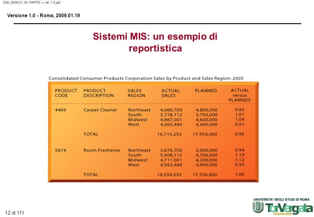 12 di 111 DM– 2009.01.19- PARTE I – rel. 1.0.ppt Versione 1.0 - Roma, 2009.01.19 Sistemi MIS: un esempio di reportistica