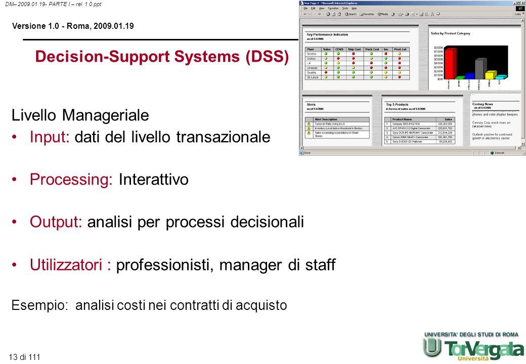 13 di 111 DM– 2009.01.19- PARTE I – rel. 1.0.ppt Versione 1.0 - Roma, 2009.01.19 Decision-Support Systems (DSS) Livello Manageriale Input: dati del li