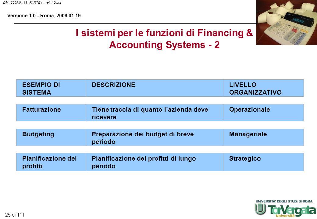 25 di 111 DM– 2009.01.19- PARTE I – rel. 1.0.ppt Versione 1.0 - Roma, 2009.01.19 I sistemi per le funzioni di Financing & Accounting Systems - 2 ESEMP