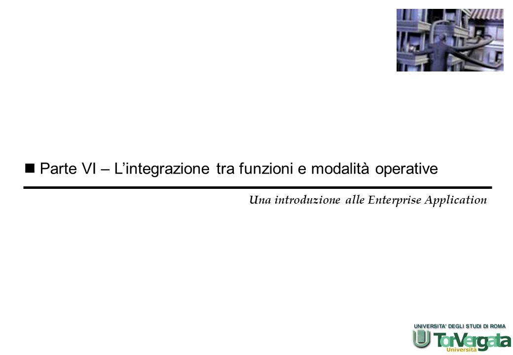 Parte VI – Lintegrazione tra funzioni e modalità operative Una introduzione alle Enterprise Application