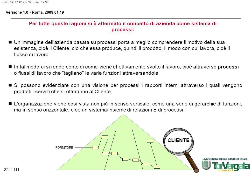 32 di 111 DM– 2009.01.19- PARTE I – rel. 1.0.ppt Versione 1.0 - Roma, 2009.01.19 Per tutte queste ragioni si è affermato il concetto di azienda come s