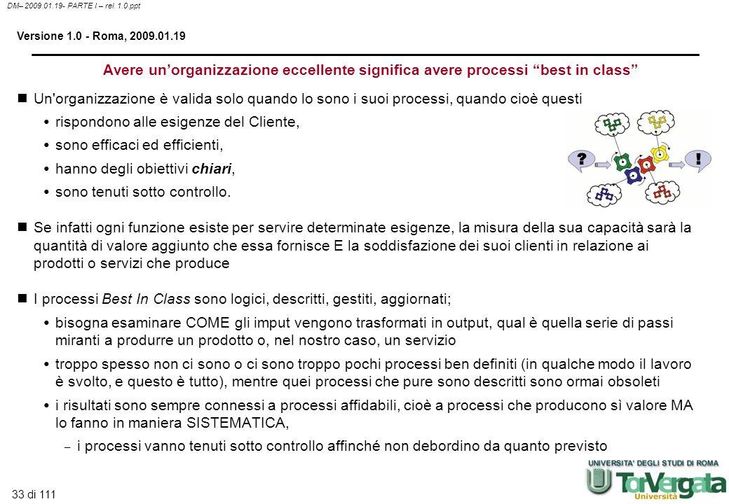 33 di 111 DM– 2009.01.19- PARTE I – rel. 1.0.ppt Versione 1.0 - Roma, 2009.01.19 Avere unorganizzazione eccellente significa avere processi best in cl