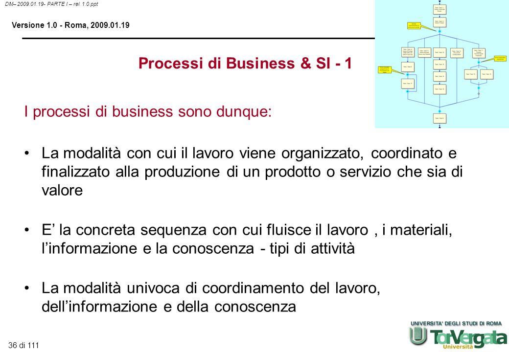 36 di 111 DM– 2009.01.19- PARTE I – rel. 1.0.ppt Versione 1.0 - Roma, 2009.01.19 Processi di Business & SI - 1 I processi di business sono dunque: La