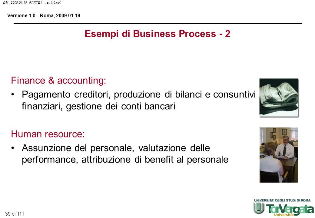 39 di 111 DM– 2009.01.19- PARTE I – rel. 1.0.ppt Versione 1.0 - Roma, 2009.01.19 Finance & accounting: Pagamento creditori, produzione di bilanci e co