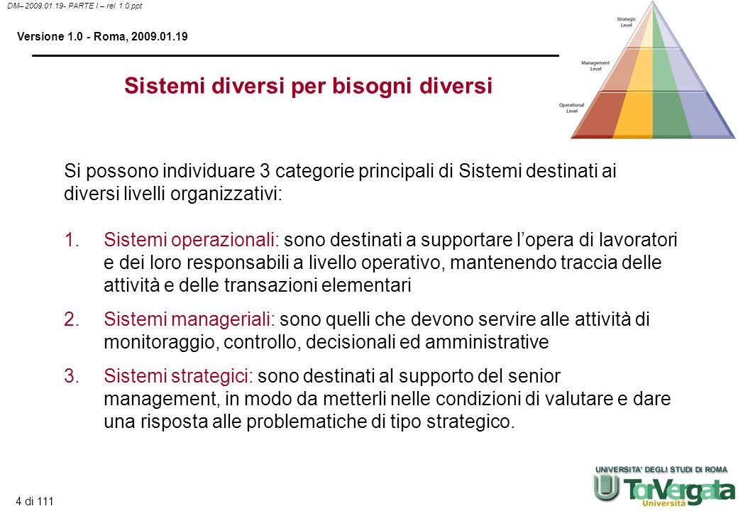4 di 111 DM– 2009.01.19- PARTE I – rel. 1.0.ppt Versione 1.0 - Roma, 2009.01.19 Sistemi diversi per bisogni diversi 1. 1.Sistemi operazionali: sono de