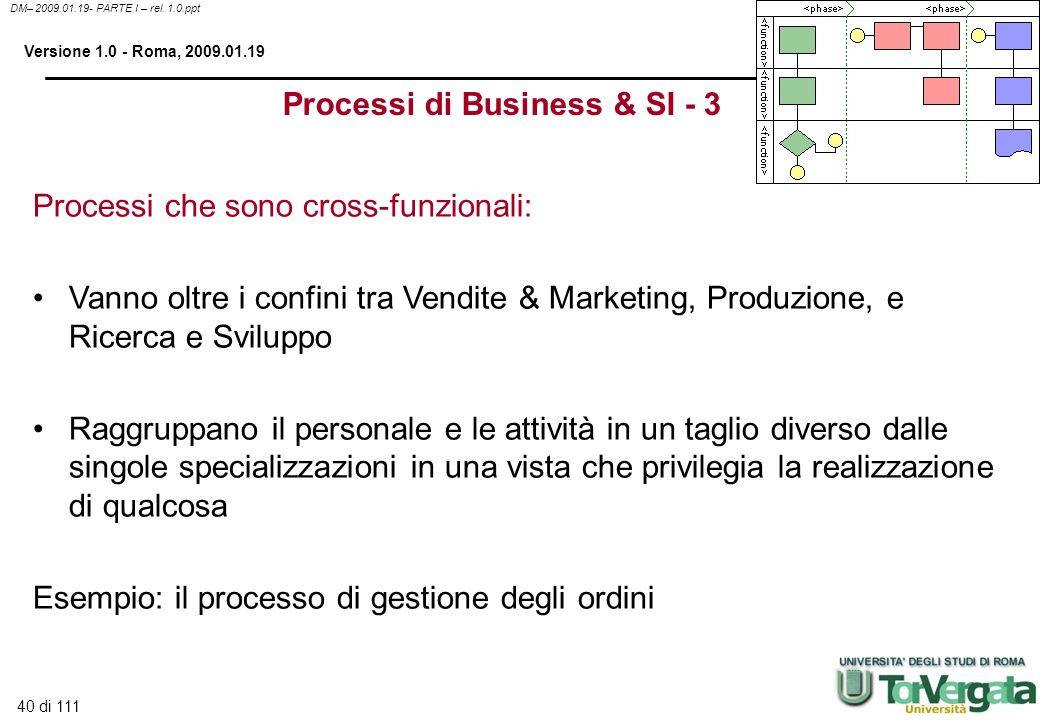 40 di 111 DM– 2009.01.19- PARTE I – rel. 1.0.ppt Versione 1.0 - Roma, 2009.01.19 Processi che sono cross-funzionali: Vanno oltre i confini tra Vendite