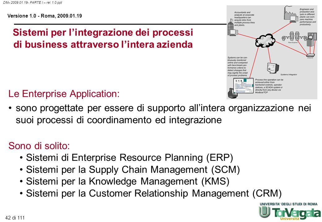 42 di 111 DM– 2009.01.19- PARTE I – rel. 1.0.ppt Versione 1.0 - Roma, 2009.01.19 Sistemi per lintegrazione dei processi di business attraverso lintera