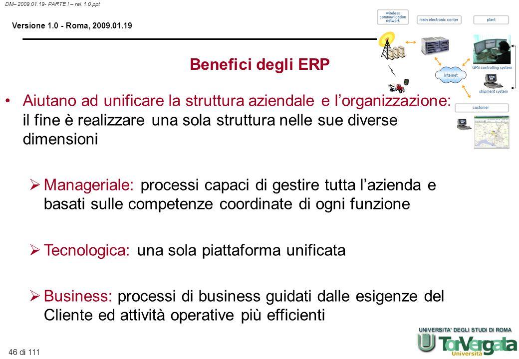 46 di 111 DM– 2009.01.19- PARTE I – rel. 1.0.ppt Versione 1.0 - Roma, 2009.01.19 Benefici degli ERP Aiutano ad unificare la struttura aziendale e lorg