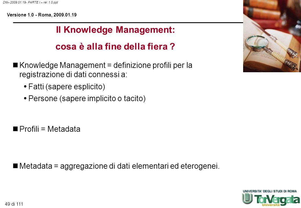 49 di 111 DM– 2009.01.19- PARTE I – rel. 1.0.ppt Versione 1.0 - Roma, 2009.01.19 Knowledge Management = definizione profili per la registrazione di da