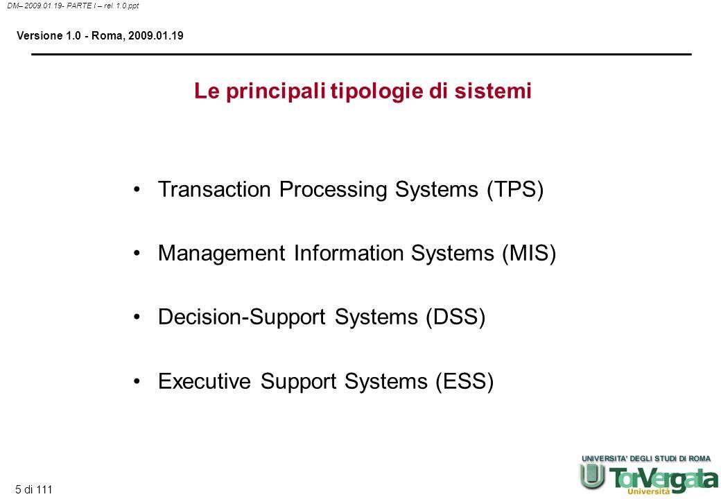 5 di 111 DM– 2009.01.19- PARTE I – rel. 1.0.ppt Versione 1.0 - Roma, 2009.01.19 Le principali tipologie di sistemi Transaction Processing Systems (TPS